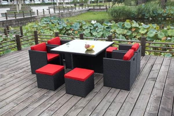 rio grande rattan chair set with red cushions