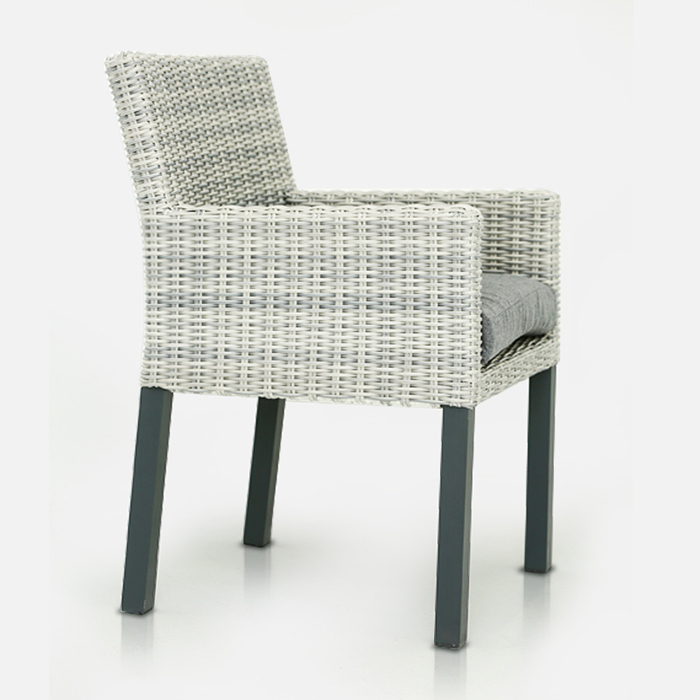 rattan chair in grey weave