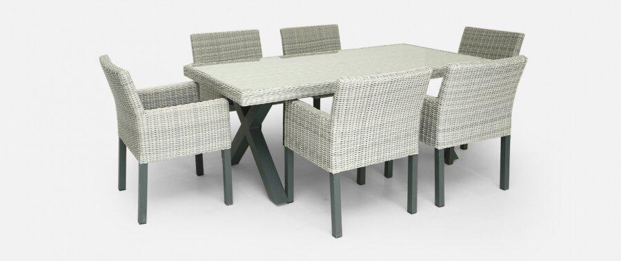 grey weave rattan cube set